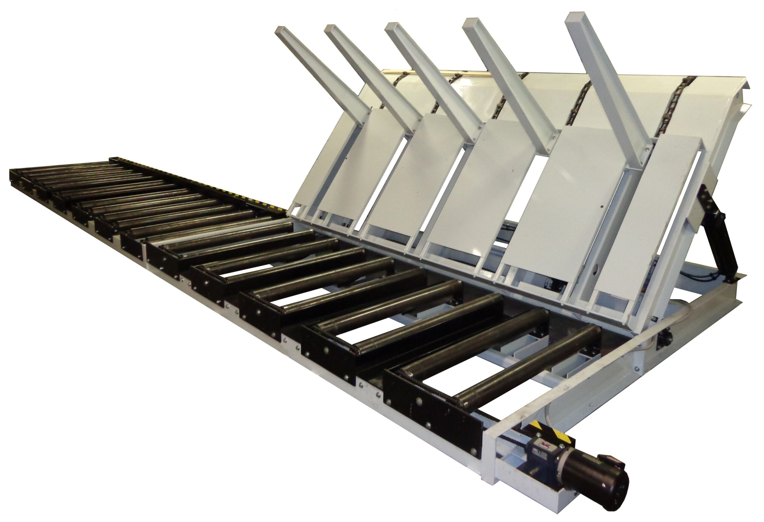 Bundle Dumper with Staging Roller Conveyors